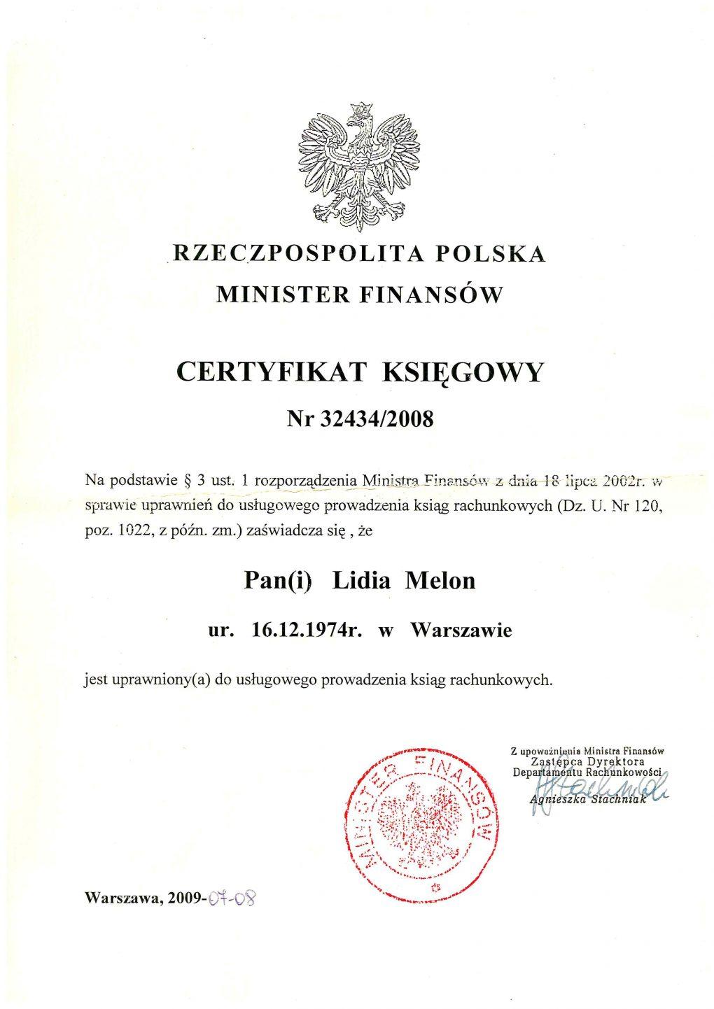 Lidia_ Melon_certyfikat